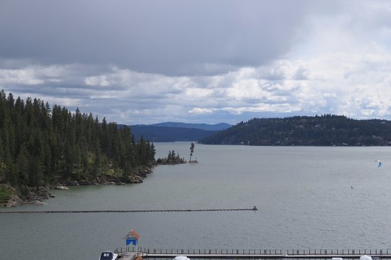 The Coeur d'Alene Resort: View of the lake from my 10th floor room (note the windsurfer on the right)
