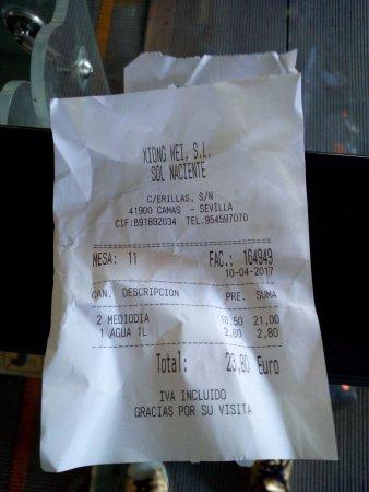 Camas, Spanien: Ticket de precios menú y bebida día laborable