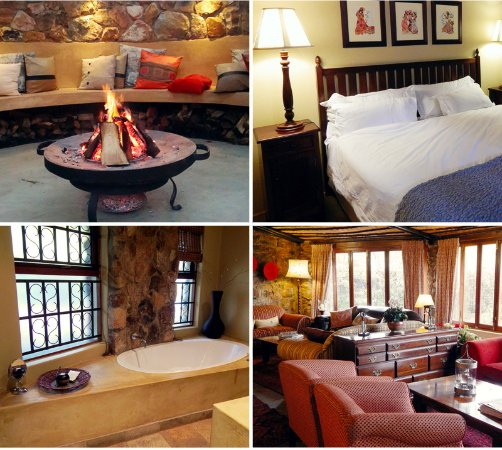Idwala Boutique Hotel Johannesburg: Executive Garden Room and Bathroom,  outside boma area and lounge