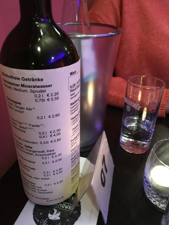 Ostseebad Baabe, Germany: Speisekarte auf der Flasche