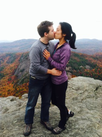 """Cashiers, NC: Trey popped the ?,after climbing CHIMNEY TOP, Val said """"Yes"""" they celebrated at Canyon Kitchen"""