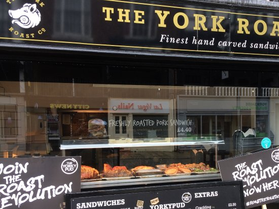 The York Roast Co: Front entrance. Window display