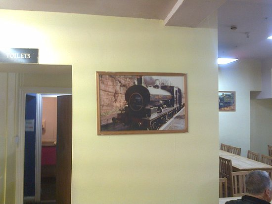 West Bromwich, UK: pictures of trains all over the cafe