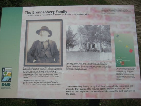 Anderson, IN: Info board about the Bronnenbergs who saved these mounds