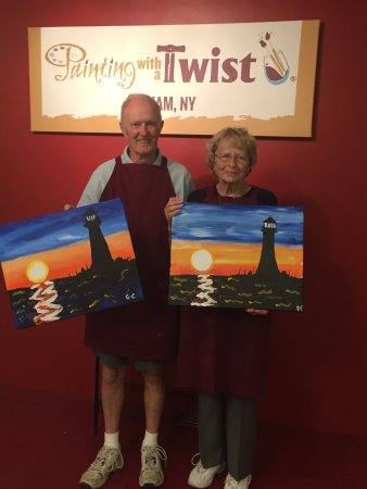 Latham, NY: 81 year old parents with their paintings