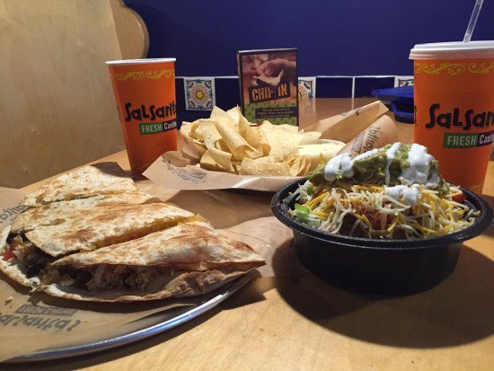 Prince Frederick, MD: Quesadilla and Small Burrito Bowl with Chips & Queso to Share!