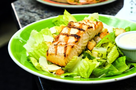 Timonium, MD: Caesar salad with grilled salmon