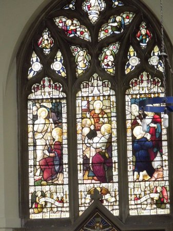 Bladon, UK: stained-glass window