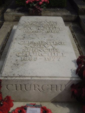 Bladon, UK: Winston and Clementine's grave marker