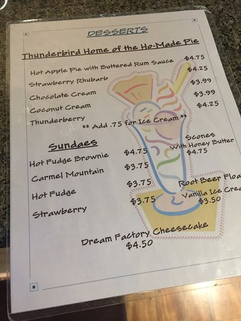 Mount Carmel, UT: Thunderbird Restaurant - ho'made pie list