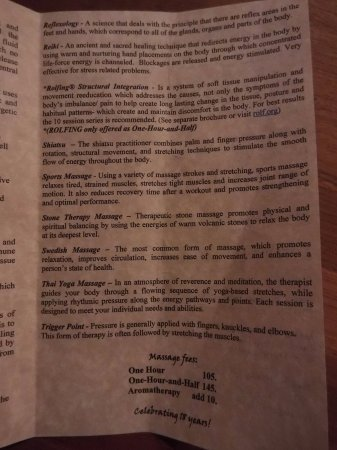 One Spirit Massage Studio : inside page 3 types of massages and costs