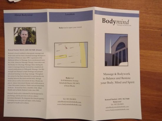 Bodymind: brochure outside
