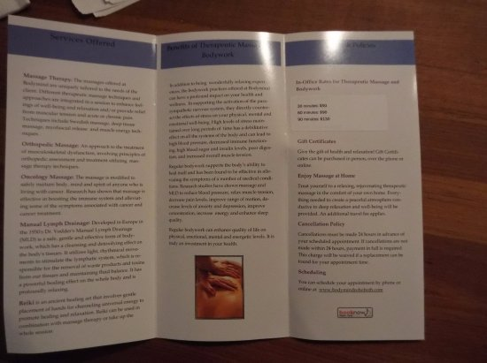 Bodymind: brochure inside