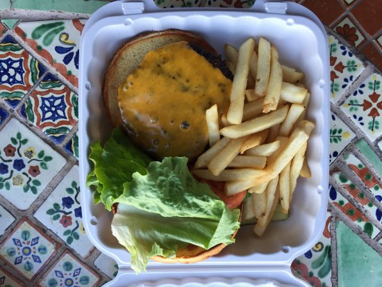 Badwater Saloon: Cheeseburger with lettuce, tomato, fries on 3/12/2017