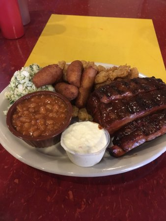 Gaffney, SC: Ribs, Calabash Shrimp, Coleslaw, Hush Puppies, Baked Beans....