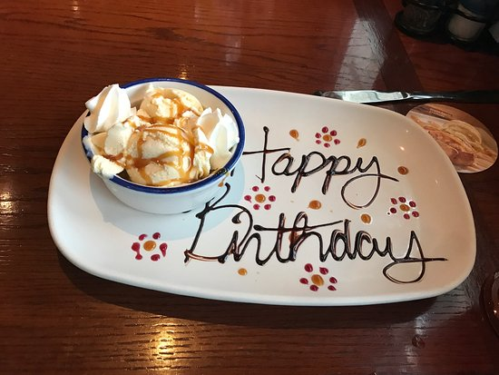 Ames, IA: A neat birthday touch to a great meal and great service!
