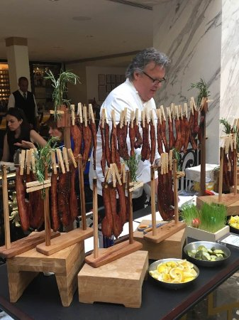 David Burke Serving His Famous Cured Bacon Appetizer During Easter