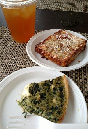 South Hill, Anguila: Spinach Feta Quiche and Bostock pastry