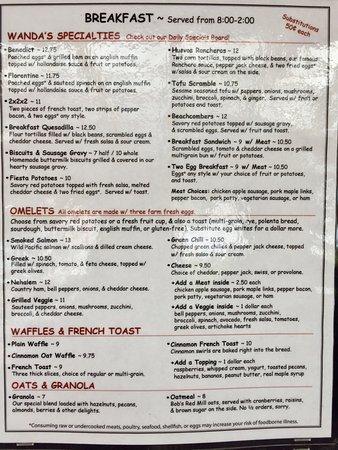 Nehalem, OR: menu
