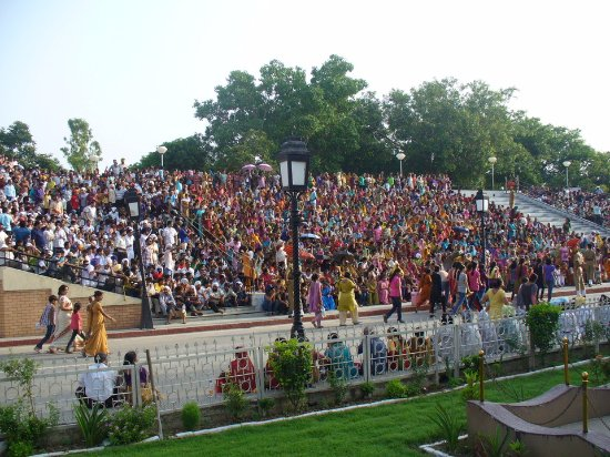 Wagah Border: Crowd waiting to witness The Beating Retreat Ceremony.
