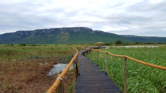 Mkuze, South Africa: Hotel Jetty with Ghost Mountain in the background