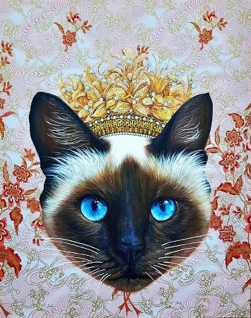 Choeng Thale, Thailand: Crowned Siamese cat painting by artist Juffy Joob.