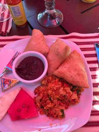 Martha's Guesthouse restaurant: Martha's Mayan breakfast w/Jacks