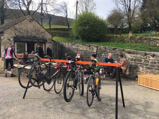 Burnsall, UK: New bike rack for cycling friends