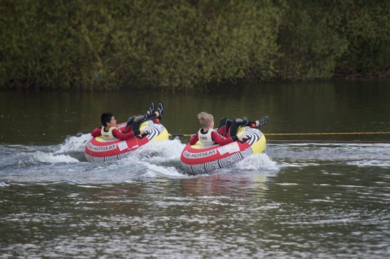 Brandesburton, UK: Tubing at Billabong Watersports - 11th Birthday Party - (towed behind speed boat in inflatable r