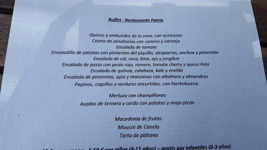 Restaurante Patria : Menu