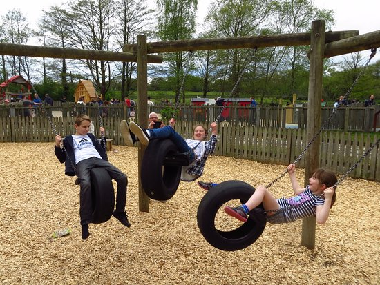 Ringwood, UK: Tyre swings in older children's play area (with younger play area in background)