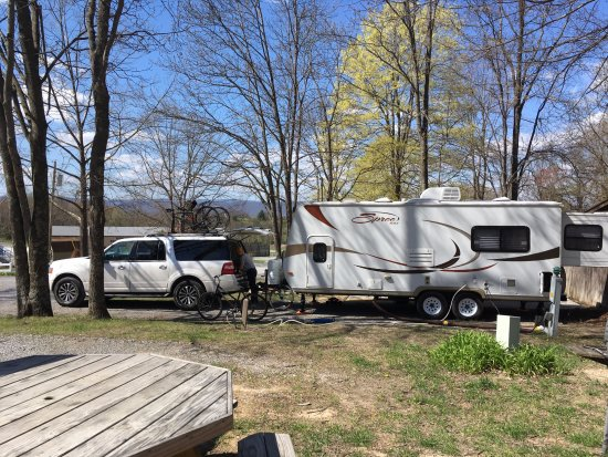 Wytheville KOA: Back in Patio site in the trees.