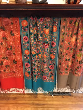 Hand embroidered scarves at Cultural Cloth in Maiden Rock WI