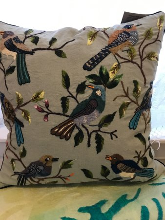 Hand embroidered bird pillow from Guatemala at Cultural Cloth in Maiden Rock WI