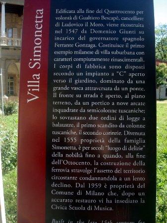 Villa Simonetta : Utili note descrittive