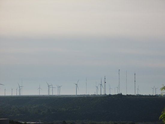 View of the windfarm from Big Spring State Park.