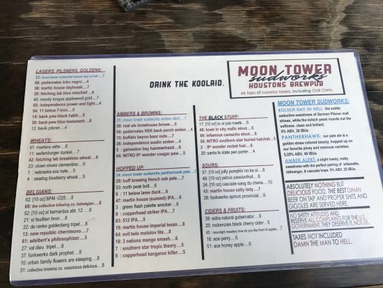 Craft Beer Menu  Picture Of Moon Tower Inn Houston  Tripadvisor