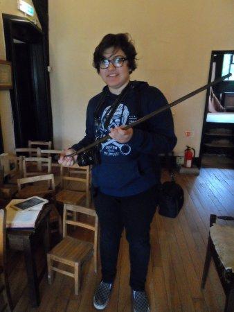 Samlesbury Hall: Nadia in small School with stick