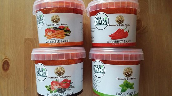 Thornton-Le-Dale, UK: Our freshly made Tomato sauces for our delicious pasta's