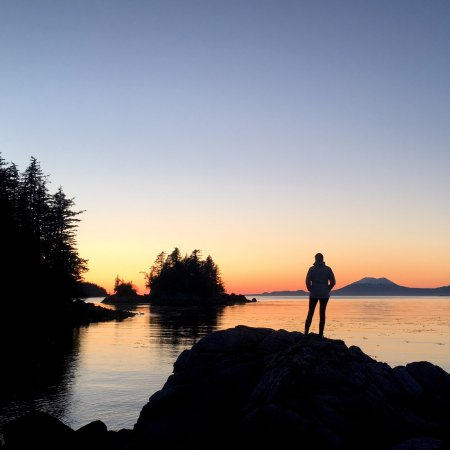 Sitka, AK: Sunset off the coast of the small island hosting the Tom Young Cabin