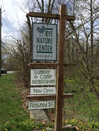 Rye Nature Center: sign on Boston Post Road