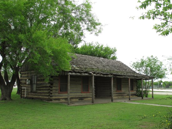 This log cabin is the replica of the 1856 Atascosa County Courthouse