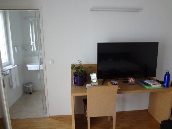 Bad Radkersburg, Austria: Blick Richtung Bad und Fernseher