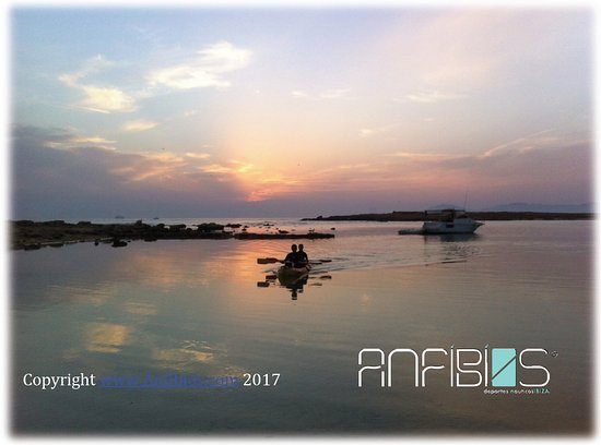 Sant Jordi, Spain: Kayaking adventure pack at sunset,  the magic moment in Ibiza