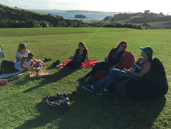 Outside of Cable Bay amazing lush lawn stayed and drank for 4 hours