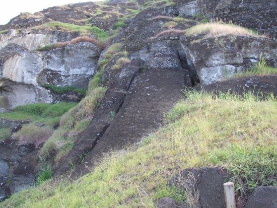 Ahu Akahanga: Particolare Moai incompleto