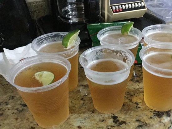 El Cid Ceiba Resort Day Pass: Our 6-pack of beer!