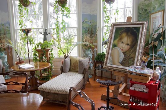 Photo of neighbor's daughter in Sunroom painted by Robb White. Rose Hill Mansion, Bluffton, SC