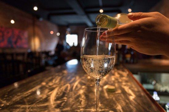 Cedar Falls, IA: Enjoying a glass of wine at Montage Upstairs