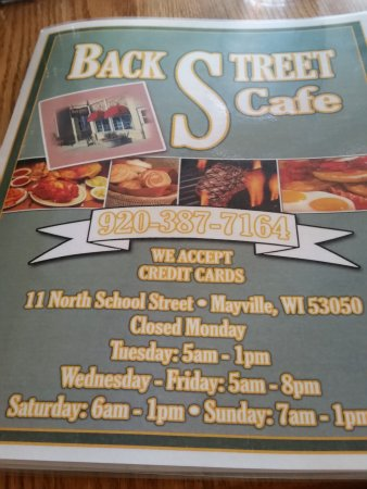 Back Street Cafe: Menu